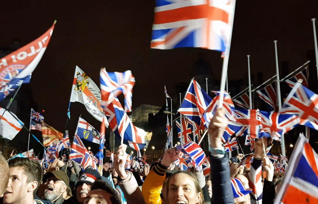 brexit crowds cheer flags party 31st january 2020