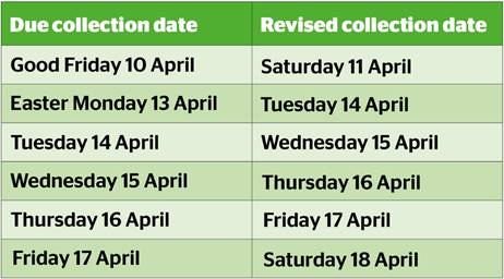 Watford Borough Council and its environmental services partner Veolia will be operating a revised waste and recycling collection timetable during the Easter period.