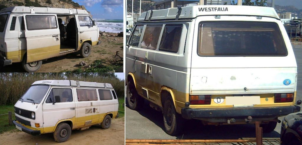 The first vehicle is a distinctive VW T3 Westfalia campervan. It is an early 1980s model, with two tone markings, a white upper body and a yellow skirting. It had a Portuguese registration plate.